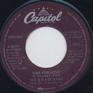 B.B. & Q. Band / Time For Love c/w Lovin's What We Should Do front