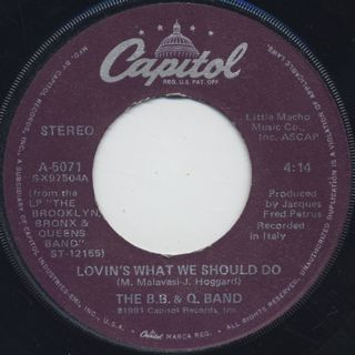 B.B. & Q. Band / Time For Love c/w Lovin's What We Should Do back
