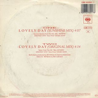 Bill Withers / Lovely Day(Sunshine Mix) back