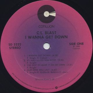C.L. Blast / I Wanna Get Down label