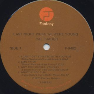 Cal Tjader / Last Night When We Were Young label