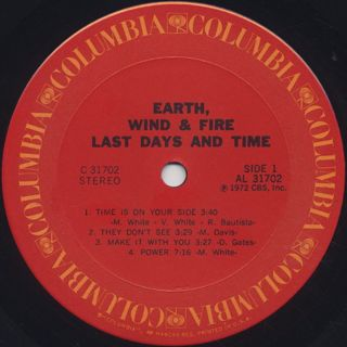 Earth, Wind & Fire / Last Days And Time label