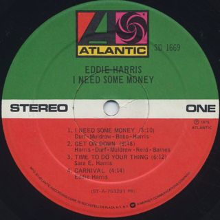 Eddie Harris / I Need Some Money label