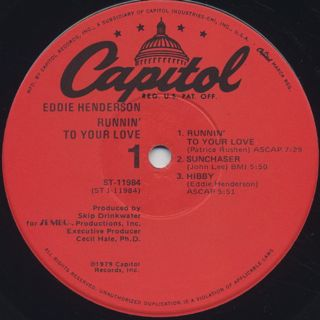 Eddie Henderson / Runnin' To Your Love label