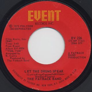 Fatback Band / Yum,Yum(Gimme Some) c/w Let The Drums Speak back