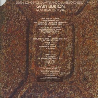 Gary Burton / Seven Songs For Quartet And Chamber Orchestra back
