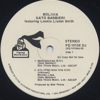 Gato Barbieri with Lonnie Liston Smith / Bolivia label
