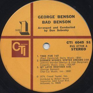 George Benson / Bad Benson label
