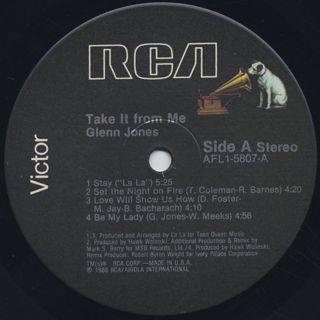 Glenn Jones / Take It From Me label