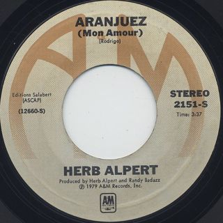 Herb Alpert / Rise c/w Aranjuez back