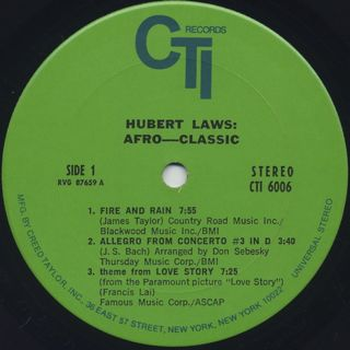 Hubert Laws / Afro Classic label