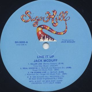 Jack McDuff / Live It Up label