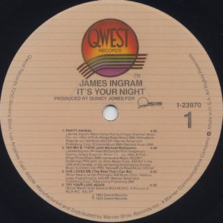 James Ingram / It's Your Night label