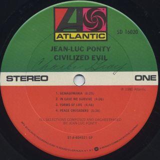 Jean-Luc Ponty / Civilized Evil label