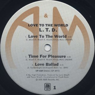 L.T.D. / Love To The World label