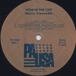 Monty Alexander / Now Is The Time label