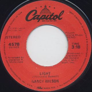 Nancy Wilson / Light c/w I'm Gonna Let Ya front