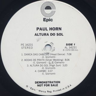 Paul Horn / Altura Do Sol(High Sun) label