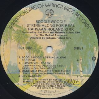 Rahsaan Roland Kirk / Boogie Woogie String Along For Real label