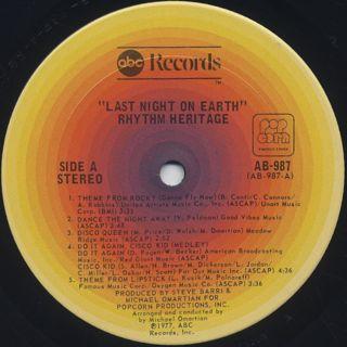 Rhythm Heritage / Last Night On Earth label