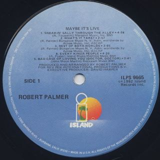 Robert Palmer / Maybe It's Live label