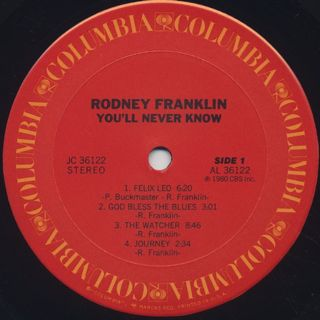 Rodney Franklin / You'll Never Know label