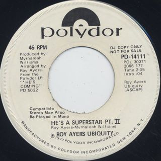 Roy Ayers Ubiquity / He's A Superstar Pt.1 c/w Pt.2 back