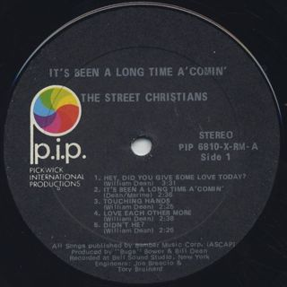 Street Christians / It's Been A Long Time A'Comin label