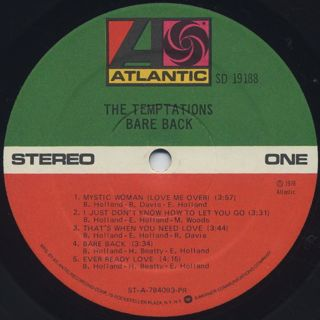 Temptations / Bare Back label