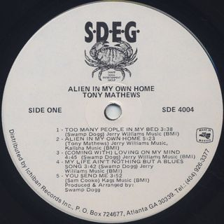 Tony Mathews / Alien In My Own Home label