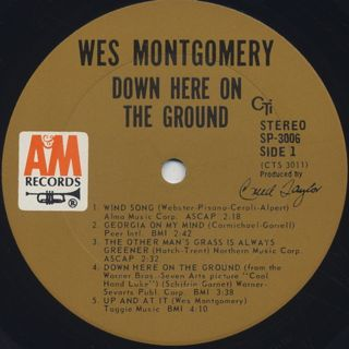 Wes Montgomery / Down Here On The Ground label