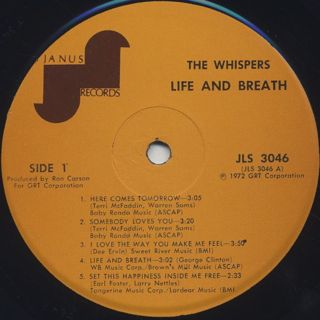 Whispers / Life And Breath label