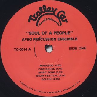 Afro Percussion Ensemble / Soul Of A People label