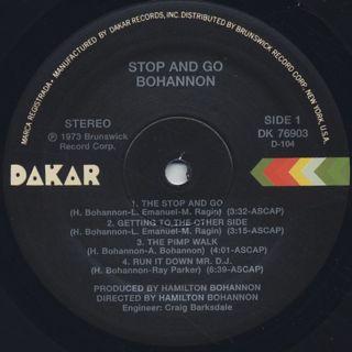 Bohannon / Stop & Go label