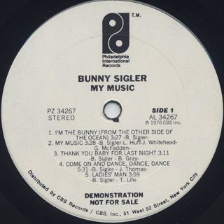 Bunny Sigler / My Music label