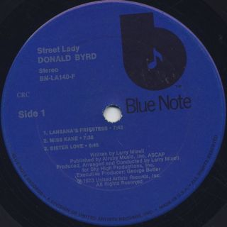Donald Byrd / Street Lady label
