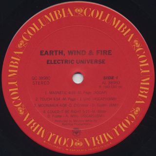 Earth Wind & Fire / Electric Universe label