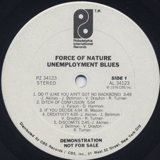 Force Of Nature / Unemployment Blues label