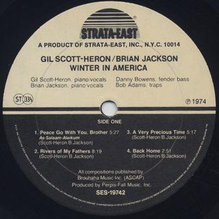 Gil Scott-Heron/Brian Jackson / Winter In America label