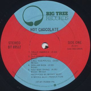 Hot Chocolate / S.T. label