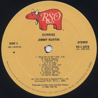 Jimmy Ruffin / Sunrise label