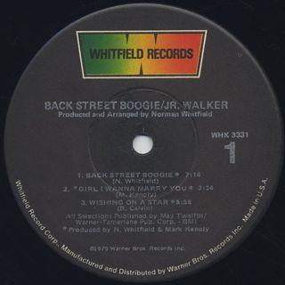 Jr. Walker / Back Street Boogie label
