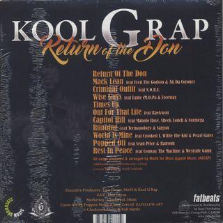 Kool G Rap / Return Of The Don back