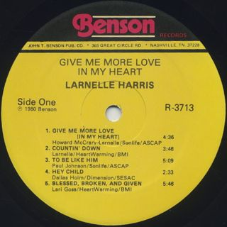 Larnelle / Give Me More Love In My Heart label