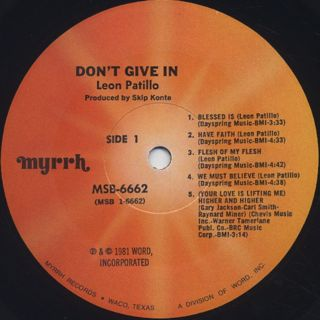 Leon Patillo / Don't Give In label
