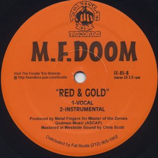 M.F. Doom / The M.I.C. b/w Red and Gold back