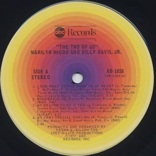 Marilyn McCoo & Billy Davis Jr. / The Two Of Us label