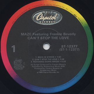 Maze featuring Frankie Beverly / Can't Stop The Love label