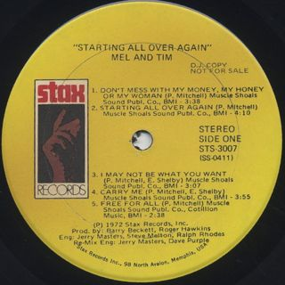 Mel and Tim / Starting All Over Again label