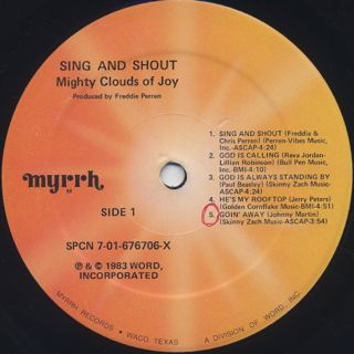 Mighty Clouds Of Joy / Sing And Shout label